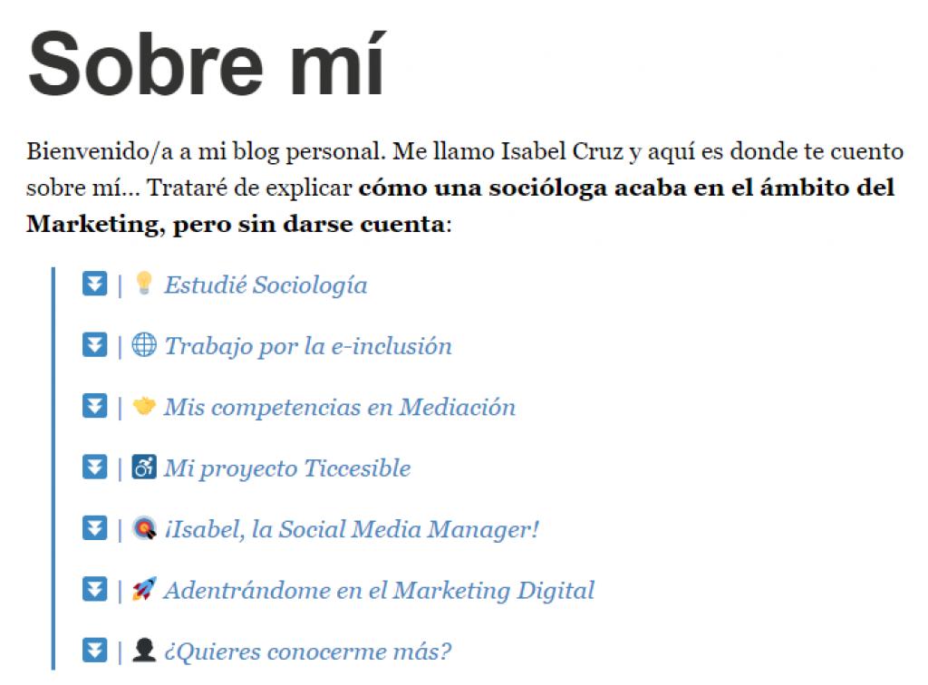 Isabel Cruz Social Media - Índice Sobre mí