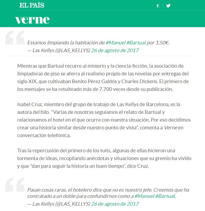 Novela de Twitter Las Kellys en El País - Isabel Cruz Social Media