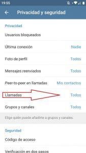 Personalizar llamadas entrantes en Telegram