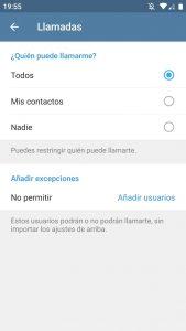Habilitar y deshabilitar llamadas en Telegram
