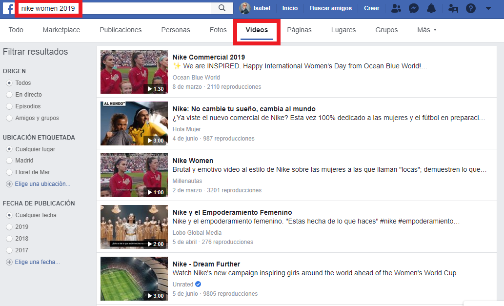 Cómo buscar un vídeo en Facebook
